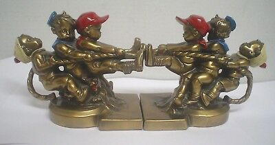 Vintage Brass PM CRAFTSMAN Tug Of War Bookends