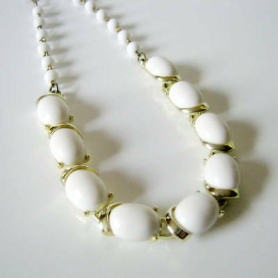 Coro Necklace, Vintage White Lucite Choker Necklace, Fashion Jewelry, Gold Tone