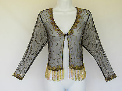 VINTAGE 1960s 70s TOP/COVER BLACK SHEER MESH GOLDEN BEADS  BEAD FRINGE