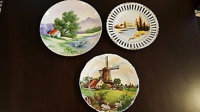 3 Vintage Hand Painted Made in Japan Giftcraft Royal Schwabap 1984 Plate Signed