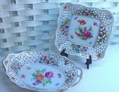 Schumann Dresden Floral Reticulated Lace Edge Square & Oval  Plate dish Germany