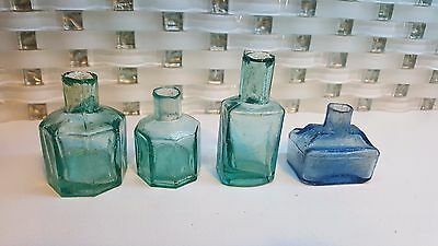 4 Vintage Antique Rare Glass Ink Bottle Pen Fountain Inkwell Swirl Bubbles Blue