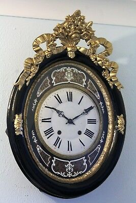 Antique french rare boulle wall clock  month running auto rapeat