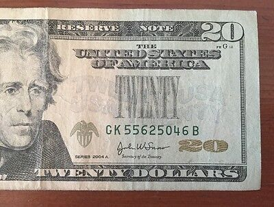 2004A $20 Missing Green Seal Error Note (5046B)