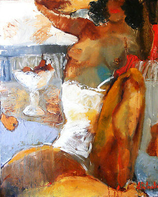 """Nude Painting Original oil on canvas signed 100 x77cm 39.5""""x 30.4"""" A.Petrenko"""
