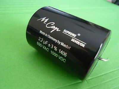 M-CAP® Supreme Silver & Oil Capacitor, 2.2uF 1000VDC, Made in Germany by Mundorf