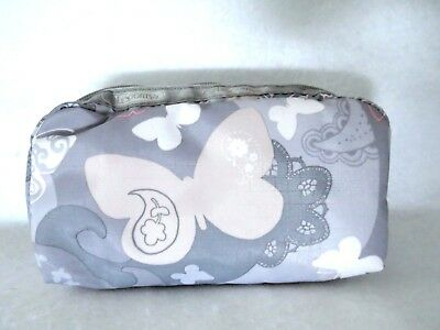 Lesportsac Rectangular Cosmetic Bag-All-A-Flutter Gray Nwt $22