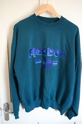 Vintage Reebok Sweatshirt Blue Large Print Medium / Large