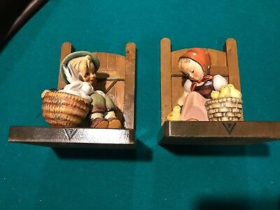Hummel Bookends Boy w/Rabbits and Girl w/Chicks