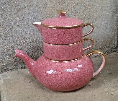 Royal Winton Grimwades Speckled Pink/Red Stacking Teapot Cup Creamer