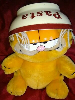 vintage garfield soft toy plush with pasta bowl 1979, 1981