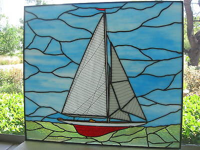 "Vintage Stained Glass Sailboat Nautical Window Panel...18"" x 16""...Beautiful!"