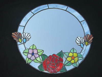 "Large 18"" Vintage Double Layered Floral STAINED GLASS MIRROR...Gorgeous!"