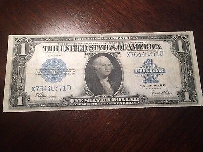 1923 $1 Silver Certificate Horse Blanket Note,Blue Seal,circulated Fine,Nice!