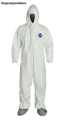 DuPont Tyvek Disposable Coverall w/ Hood & Boots Elastic Cuff White 4XL 6-Pack