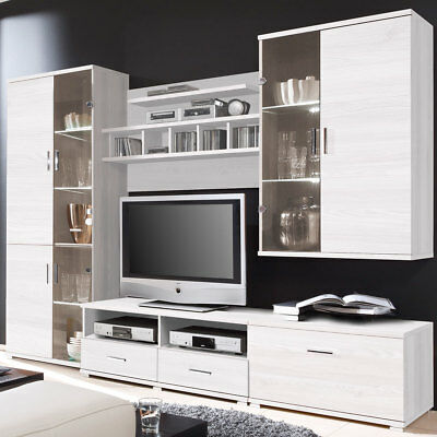 moderne wohnwand anbauwand massiv eur 1 00 picclick de. Black Bedroom Furniture Sets. Home Design Ideas