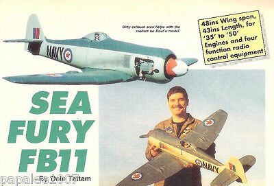 """Model Airplane Plans (RC): Hawker Sea Fury FB11 Scale 48"""" for .35 - .50 Engines"""