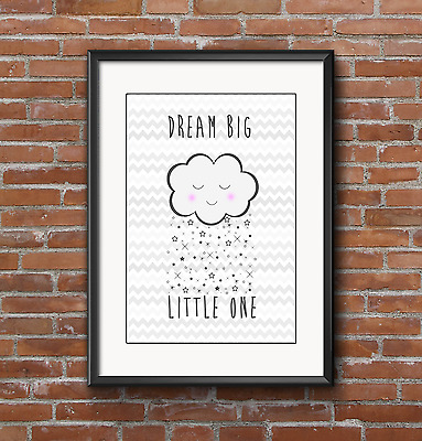 Dream big cloud stars chevron A4 print. Nursery, christening baby Grey, Decor