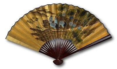 1980s Vintage Classic Large 110cm Hand-painted Chinese Decorative Wall Fan,