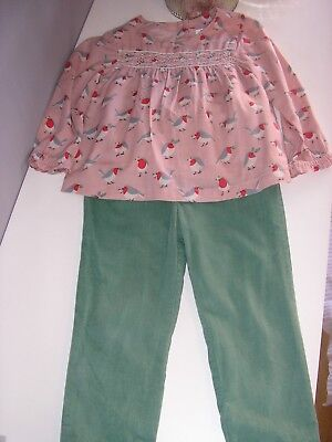Baby Boden Robin Top/Cord Trousers Playset, age 3-4 years - VGC