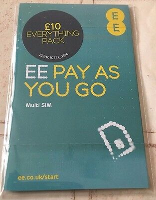 Ee Trio Sim Card With £10 Credit Preloaded On The Sim Card For Everything Pack