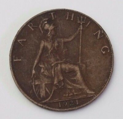 Dated : 1921 - Copper - One Farthing - Coin - King George V - Great Britain