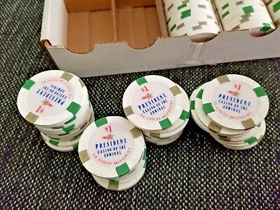 Rack of 100 President Casino Admiral PCA (secondaries) $1 Paulson poker chips