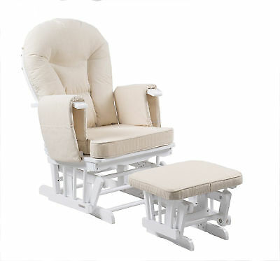 Nursing Reclining Glider Deluxe Maternity Chair w Footstool 7 Recline Positions