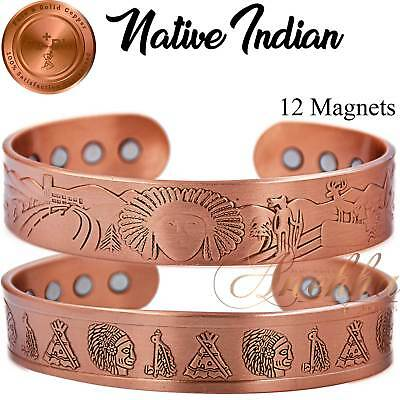 Max Therapy 12 Mag Pure Copper Magnetic Indian Bangle/Bracelet Men Arthritis Cb9