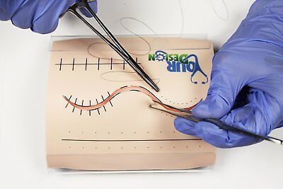 "Beginners Suture Pad with Tension Board and Guide Lines 6"" x 5"" - Light Skin"