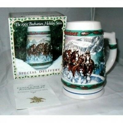 1993 BUDWEISER HOLIDAY STEIN NEW IN BOX CS192. US Homeware. Shipping is Free
