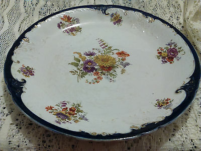 c 1891 DOULTON BURSLEM PLATE IN FLORAL PATTERN WITH RAISED RELIEF-RARE-NO CHIPS
