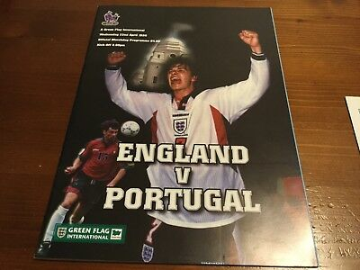 England V Portugal Friendly International inc Team Sheet & stat sheet 1998