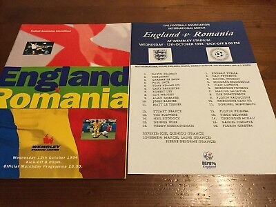 England V Romania Friendly International inc Team Sheet 1994