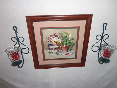 Home Interiors '' Tea Cup & Ivy '' Picture  &  Sconces  7pc Gorgeous