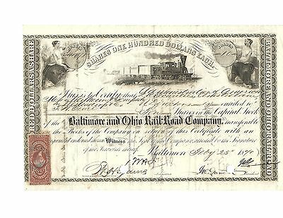 1870 Baltimore and Ohio Railroad Co. Stock Certificate- Amsterdam
