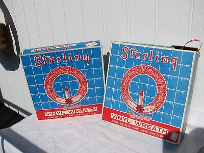 VINTAGE LOT 2 STERLING RED VINYL CANDLE WREATHS IN ORIGINAL BOX Christmas 1960's