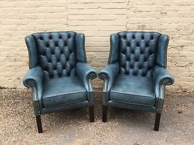 Pair Of Blue Georgian Style Leather Chesterfield Fireside Chairs