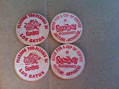 Two Vintage Wooden Nickels - Sambo's 10 Cents Coffee - Los Gatos, Ca  Mint
