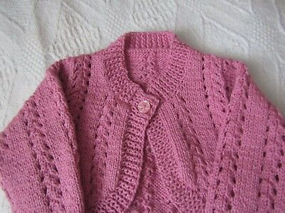 New Hand Knitted Baby Girls Lace Cardigan/Shrug 18-24 months. Deep Pink