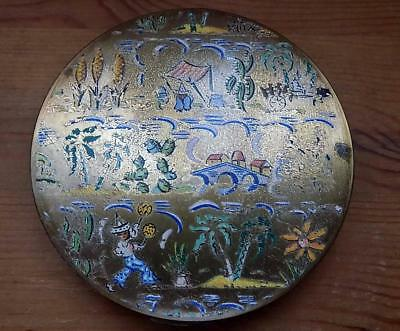 Attractive Vintage Stratton Compact, with Colourful Mexican Detail Lid