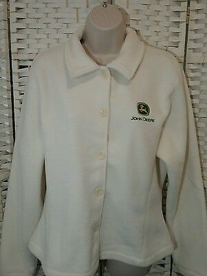 Port Authority Women L John Deer Jacket Fleece Sweater Button Down Ivory EUC