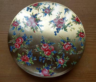 Pretty Stratton Compact with Rose Detail on the Lid, with it's Pouch and Box.