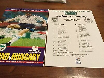 England v Hungary Friendly International inc Team Sheet 1996
