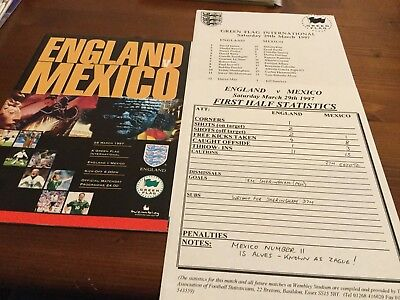 England v Mexico Friendly International inc Team Sheet & Stat Sheet 1997