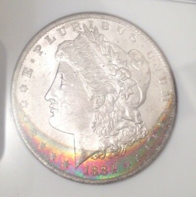 1884 O Morgan Silver Dollar NGC MS 63 * Star Vibrant Crescent Rainbow Toned