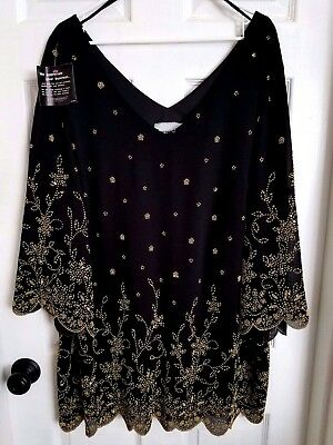 Catherines Women's Plus Size 24W  Formal Tunic Black & Gold Beaded Blouse