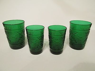 Four Vintage Anchor Hocking Forest Green Sandwich Glass Tumblers