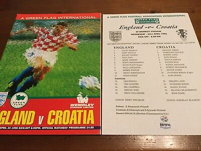England v Croatia Friendly International inc Team Sheet 1996