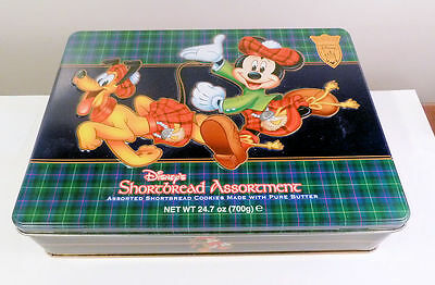 DISNEY Shortbread COOKIE TIN w. Mickey Mouse Pluto Scots Themes CUTE!